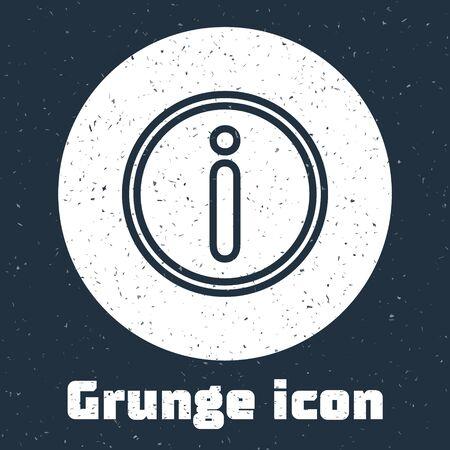 Grunge line Information icon isolated on grey background. Monochrome vintage drawing. Vector Illustration Illusztráció