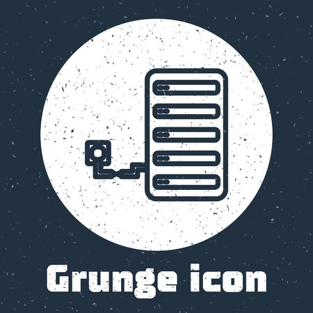 Grunge line Server icon isolated on grey background. Adjusting app, service concept, setting options, maintenance, repair, fixing. Monochrome vintage drawing. Vector Illustration