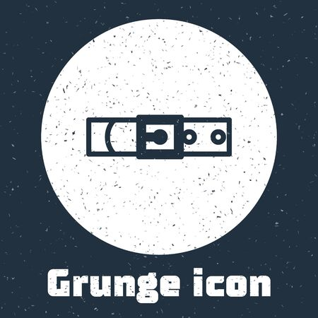 Grunge line Leather belt with buttoned steel buckle icon isolated on grey background. Monochrome vintage drawing. Vector Illustration