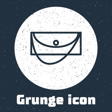 Grunge line Clutch bag icon isolated on grey background. Women clutch purse. Monochrome vintage drawing. Vector Illustration