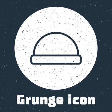 Grunge line Beanie hat icon isolated on grey background. Monochrome vintage drawing. Vector Illustration 일러스트