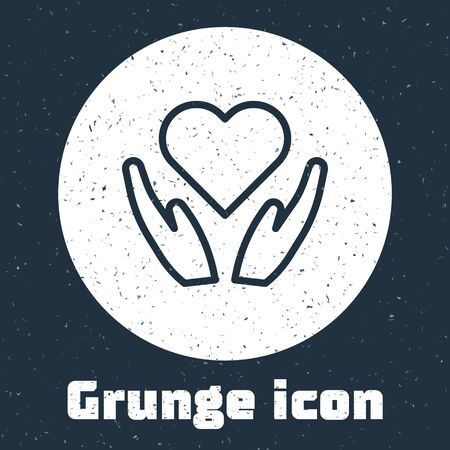 Grunge line Heart on hand icon isolated on grey background. Hand giving love symbol. Valentines day symbol. Monochrome vintage drawing. Vector Illustration Çizim