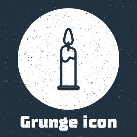 Grunge line Burning candle in candlestick icon isolated on grey background. Cylindrical candle stick with burning flame. Monochrome vintage drawing. Vector Illustration Vecteurs