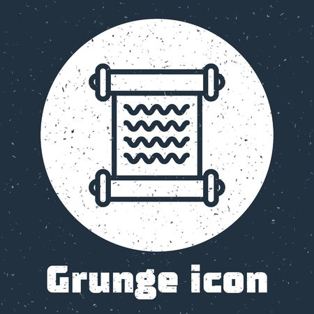 Grunge line Decree, paper, parchment, scroll icon icon isolated on grey background. Monochrome vintage drawing. Vector Illustration