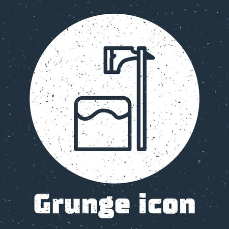 Grunge line Executioner axe in tree block icon isolated on grey background. Hangman, torturer, executor, tormentor, butcher, headsman. Monochrome vintage drawing. Vector Illustration
