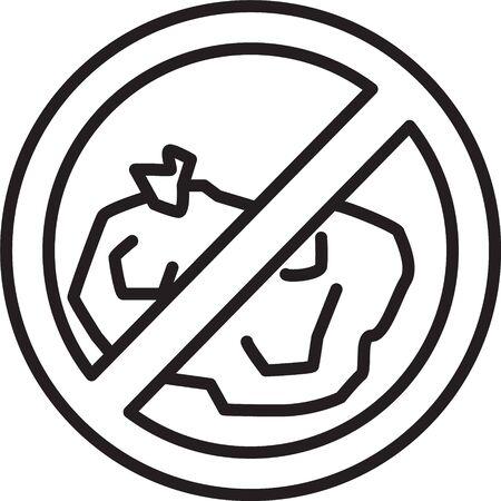Black line No trash icon isolated on white background. Vector Illustration Illusztráció