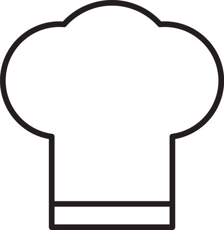 Black line Chef hat icon isolated on white background. Cooking symbol. Cooks hat. Vector Illustration