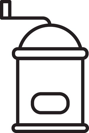 Black line Manual coffee grinder icon isolated on white background. Vector Illustration 일러스트