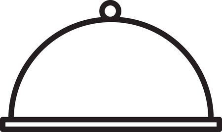 Black line Covered with a tray of food icon isolated on white background. Tray and lid. Restaurant cloche with lid. Kitchenware symbol. Vector Illustration 일러스트