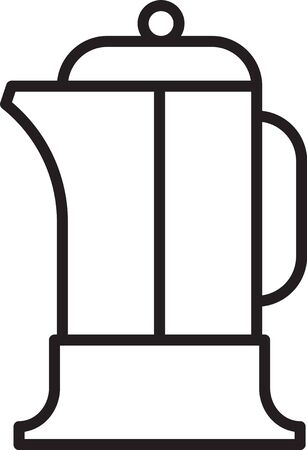 Black line French press icon isolated on white background. Vector Illustration Ilustrace