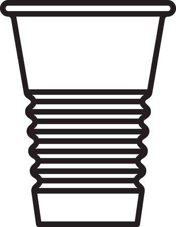 Black line Paper glass icon isolated on white background. Soda drink glass. Fresh cold beverage symbol. Vector Illustration