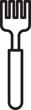 Black line Fork icon isolated on white background. Cutlery symbol. Vector Illustration