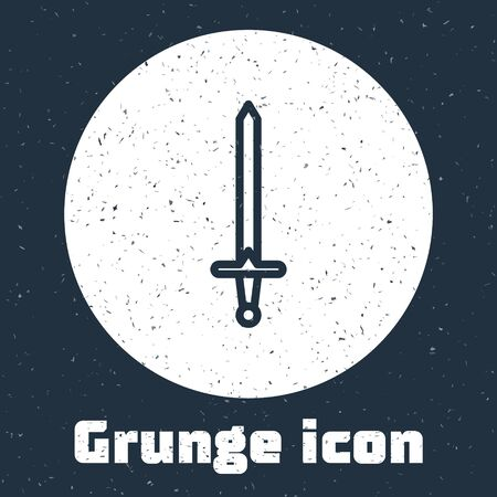 Grunge line Medieval sword icon isolated on grey background. Medieval weapon. Monochrome vintage drawing. Vector Illustration