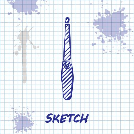 Sketch line Nail file icon isolated on white background. Manicure tool. Vector Illustration Çizim