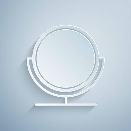 Paper cut Round makeup mirror icon isolated on grey background. Paper art style. Vector Illustration