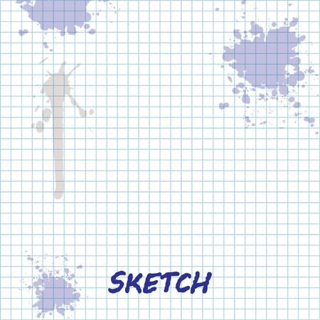 Sketch line Makeup brush icon isolated on white background.  Vector Illustration