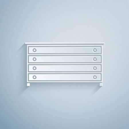 Paper cut Chest of drawers icon isolated on grey background. Paper art style. Vector Illustration