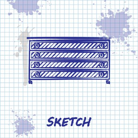 Sketch line Chest of drawers icon isolated on white background. Vector Illustration