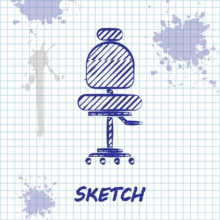 Sketch line Office chair icon isolated on white background. Vector Illustration Illustration