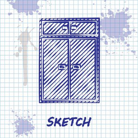 Sketch line Wardrobe icon isolated on white background. Vector Illustration Ilustração
