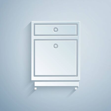 Paper cut Furniture nightstand icon isolated on grey background. Paper art style. Vector Illustration