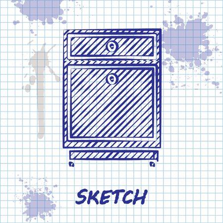 Sketch line Furniture nightstand icon isolated on white background. Vector Illustration Ilustração