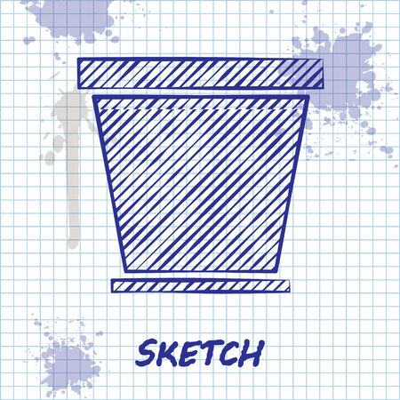 Sketch line Flower pot icon isolated on white background. Vector Illustration