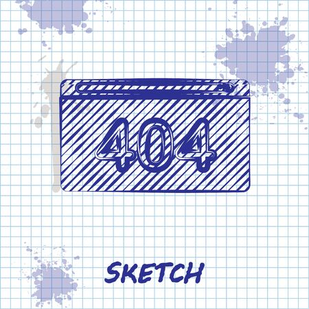 Sketch line Page with a 404 error icon isolated on white background. Template reports that the page is not found. Vector Illustration Ilustración de vector
