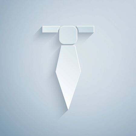 Paper cut Tie icon isolated on grey background. Necktie and neckcloth symbol. Paper art style. Vector Illustration Vectores
