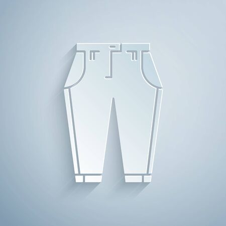 Paper cut Pants icon isolated on grey background. Paper art style. Vector Illustration 向量圖像