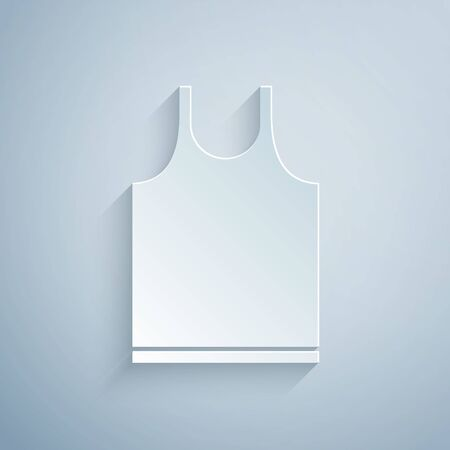 Paper cut Sleeveless T-shirt icon isolated on grey background. Paper art style. Vector Illustration 矢量图像