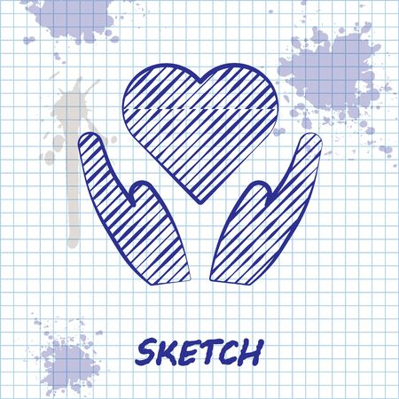 Sketch line Heart on hand icon isolated on white background. Hand giving love symbol. Valentines day symbol. Vector Illustration Çizim