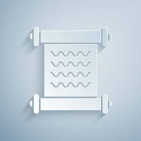 Paper cut Decree, paper, parchment, scroll icon icon isolated on grey background. Paper art style. Vector Illustration