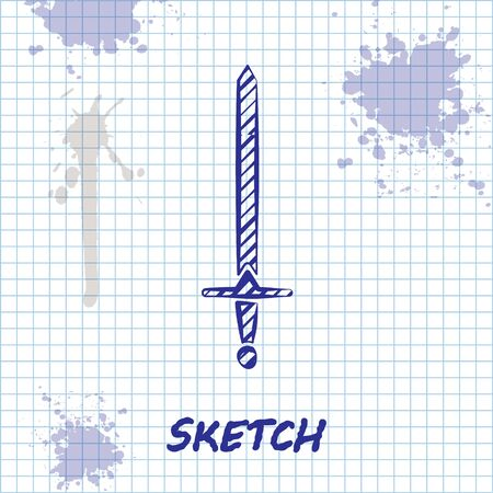 Sketch line Medieval sword icon isolated on white background. Medieval weapon. Vector Illustration Illustration