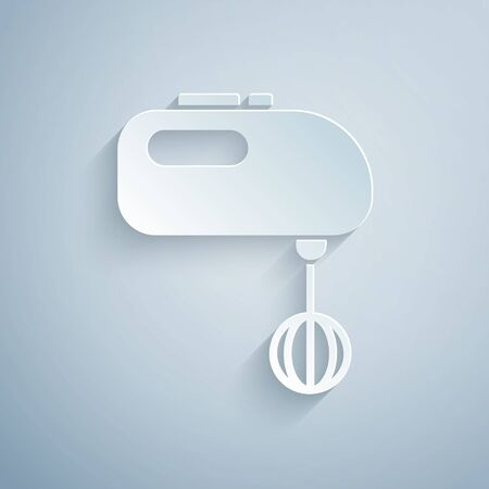 Paper cut Electric mixer icon isolated on grey background. Kitchen blender. Paper art style. Vector Illustration