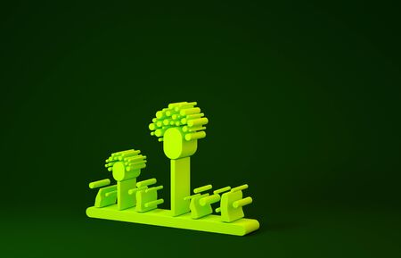 Yellow Mold icon isolated on green background. Minimalism concept. 3d illustration 3D render Reklamní fotografie