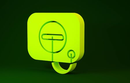 Yellow Oil filler cap opening at the gas station icon isolated on green background. Minimalism concept. 3d illustration 3D render