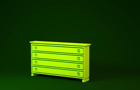 Yellow Chest of drawers icon isolated on green background. Minimalism concept. 3d illustration 3D render