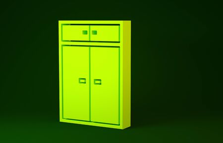 Yellow Wardrobe icon isolated on green background. Minimalism concept. 3d illustration 3D render Banco de Imagens