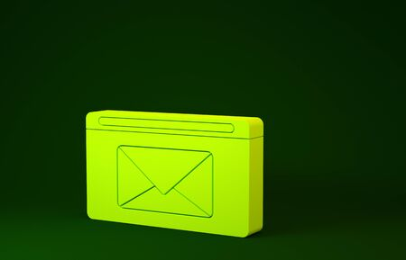 Yellow Mail and e-mail icon isolated on green background. Envelope symbol e-mail. Email message sign. Minimalism concept. 3d illustration 3D render