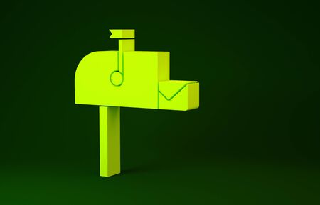 Yellow Open mail box icon isolated on green background. Mailbox icon. Mail postbox on pole with flag. Minimalism concept. 3d illustration 3D render Stock fotó