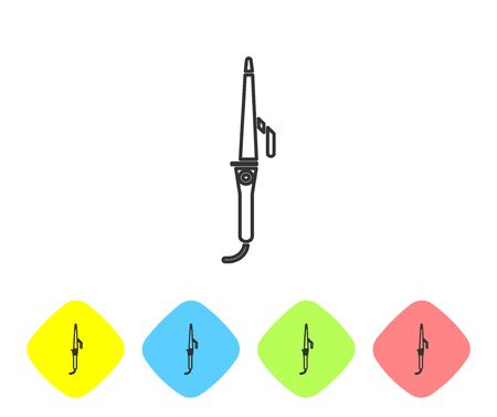Grey line Curling iron for hair icon isolated on white background. Hair straightener icon. Set icons in color rhombus buttons. Vector Illustration