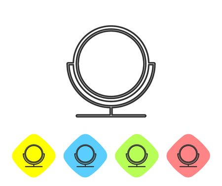 Grey line Round makeup mirror icon isolated on white background. Set icons in color rhombus buttons. Vector Illustration