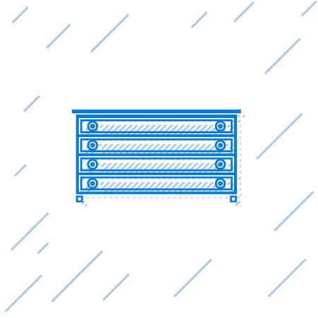 Blue line Chest of drawers icon isolated on white background.  Vector Illustration