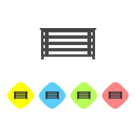 Grey line Chest of drawers icon isolated on white background. Set icons in color rhombus buttons. Vector Illustration Illusztráció