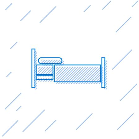 Blue line Bed icon isolated on white background.  Vector Illustration