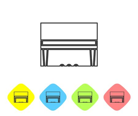 Grey line Grand piano icon isolated on white background. Musical instrument. Set icons in color rhombus buttons. Vector Illustration