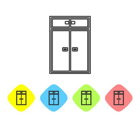 Grey line Wardrobe icon isolated on white background. Set icons in color rhombus buttons. Vector Illustration
