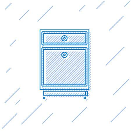 Blue line Furniture nightstand icon isolated on white background.  Vector Illustration Ilustração