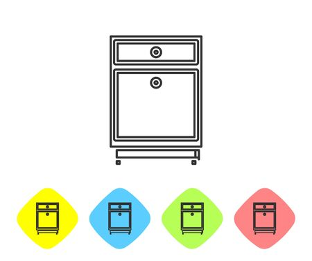 Grey line Furniture nightstand icon isolated on white background. Set icons in color rhombus buttons. Vector Illustration
